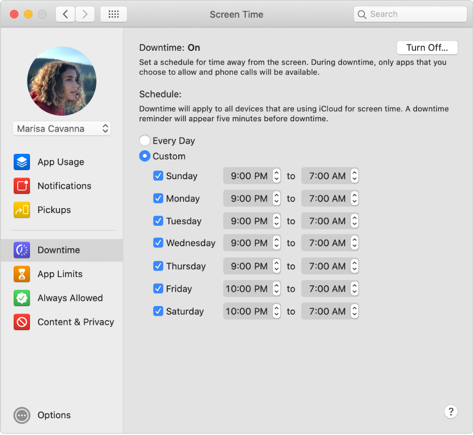 The Screen Time Downtime pane with Downtime turned on. A custom downtime schedule for each day of the week is set up.