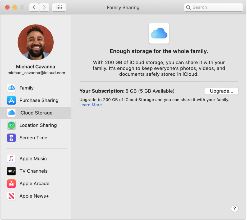 Family Sharing preferences showing a sidebar of different types of account options you can use and the iCloud Storage preferences for an existing account.