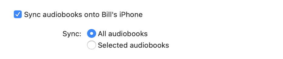 """""""Sync audiobooks onto device"""" checkbox appears with the """"All audiobooks"""" button selected and the """"Selected audiobooks"""" button unselected."""