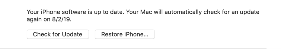 """The """"Restore [device]"""" button appears next to the """"Check for Update"""" button."""