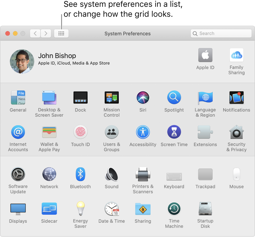 System Preferences window showing the grid of icons. Click the Show All button in the window's toolbar to see system preferences as a list, or change how the grid looks.