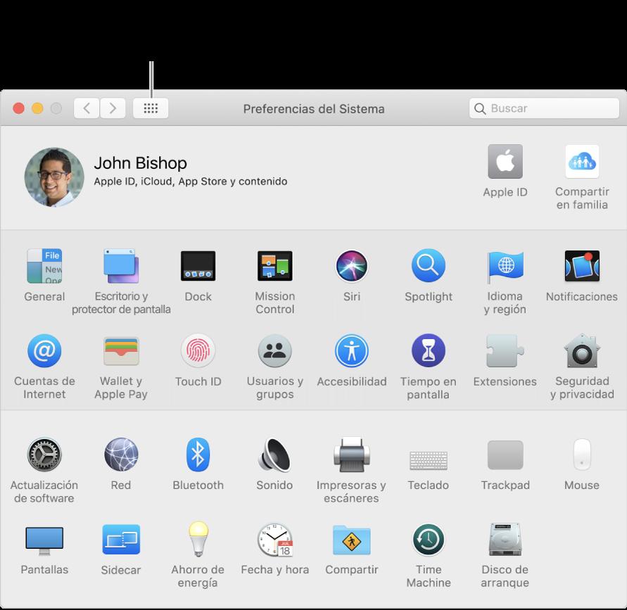 """Ventana de Preferencias del Sistema con la cuadrícula de íconos. Haz clic en el botón """"Mostrar todo"""" en la barra de herramientas de la ventana para ver las preferencias del sistema como una lista, o para cambiar el aspecto de la cuadrícula."""