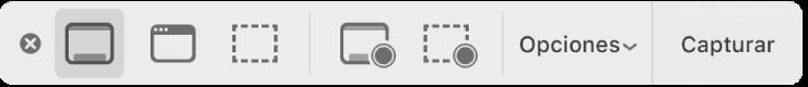 """El panel de herramientas de """"Captura de pantalla""""."""