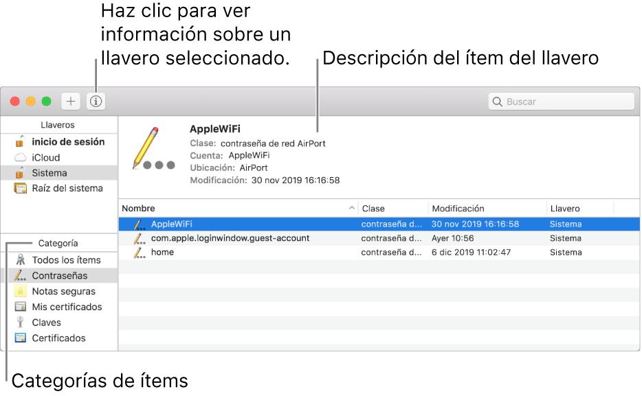 Las áreas principales de la ventana Acceso a Llaveros: la lista de categorías, la lista de ítems de ítems de llaveros y una descripción de un ítem de llavero.