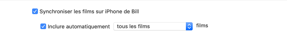 Les cases «Synchroniser les films sur [l'appareil]» et «Inclure automatiquement» sont cochées, et l'option «Tous les» est sélectionnée dans le menu local.
