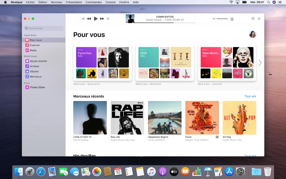 La fenêtre de l'app Musique affichant les suggestions musicales «Pour vous».