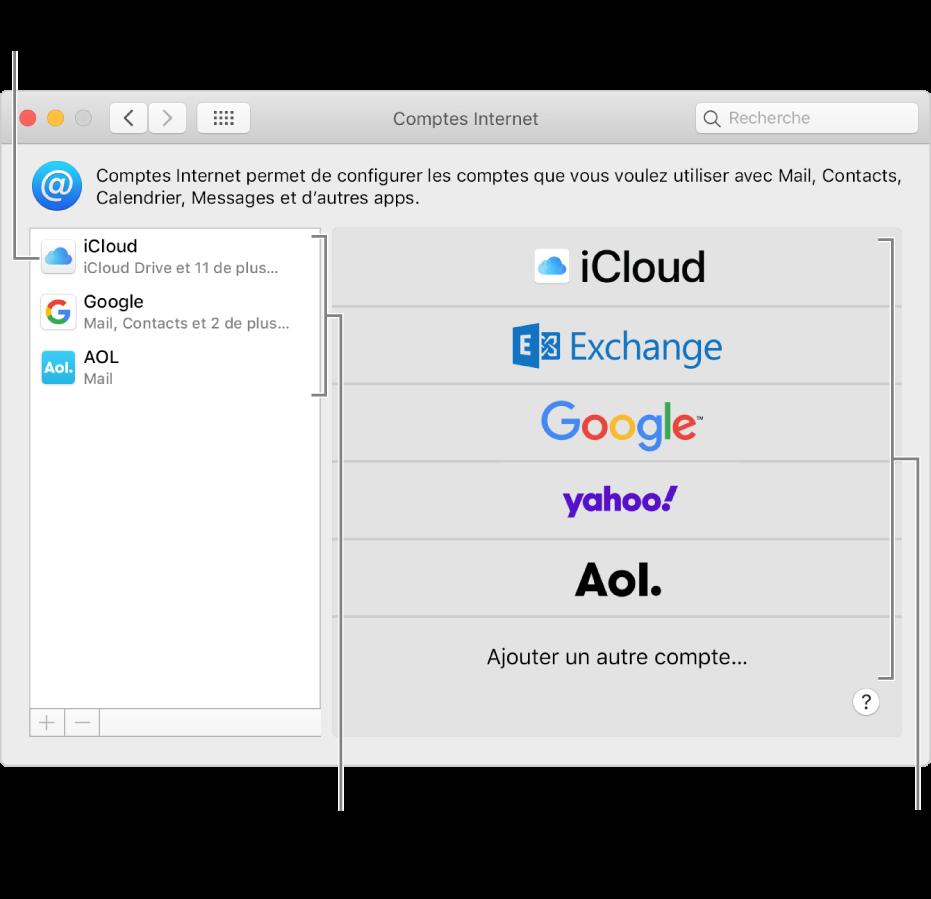 Les préférences Comptes Internet avec des comptes répertoriés à droite et les types de comptes disponibles à gauche.