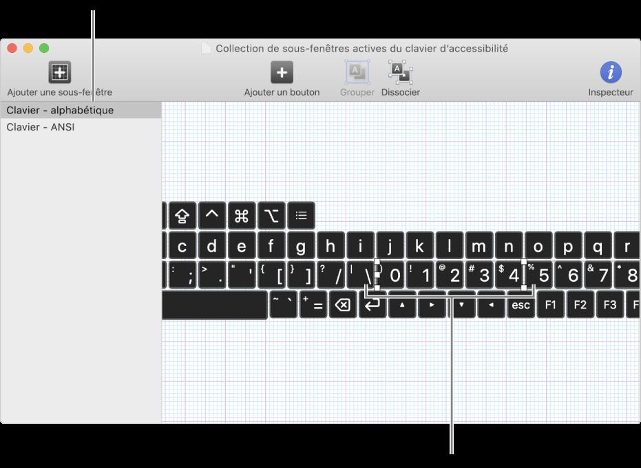 Une partie d'une fenêtre de collections de sous-fenêtres montrant une liste de sous-fenêtres de clavier à gauche, et à droite les boutons et les groupes contenus dans une sous-fenêtre.