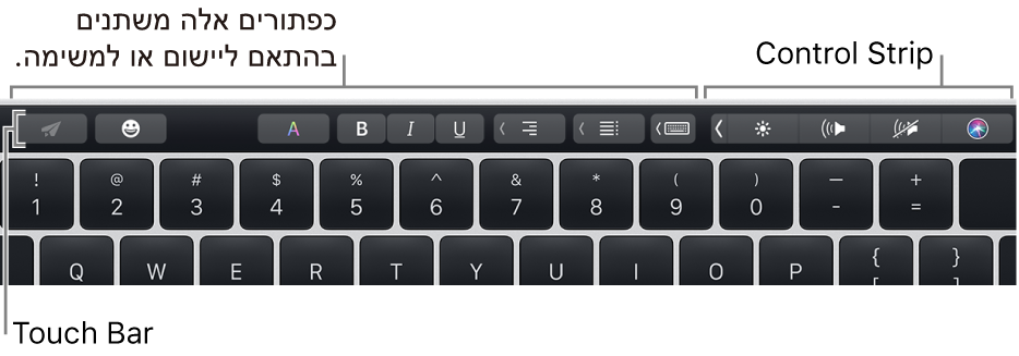 ה-TouchBar בחלק העליון של המקלדת, מציג כפתורים שמשתנים בהתאם ליישום או למשימה משמאל, וה-ControlStrip בפריסה מכווצת מימין.