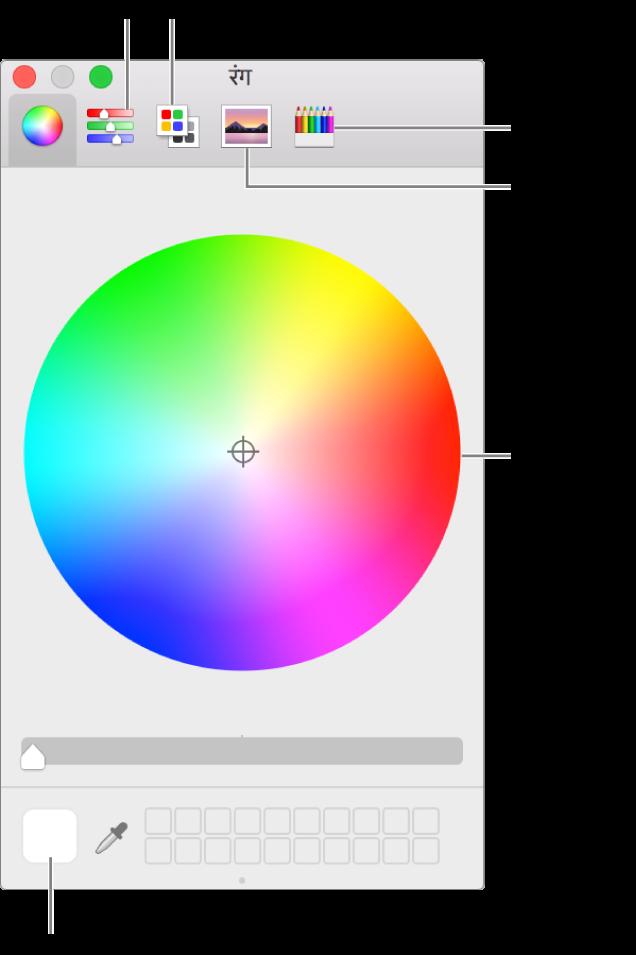रंग विंडो। विंडो के शीर्ष पर टूलबार है जिसमें रंग स्लाइडर, रंग पैलेट, छवि पैलेट और पेंसिल्स के लिए बटन हैं। विंडो के मध्य में रंग चक्र है। रंग कुआँ सबसे नीचे बाईं ओर है।