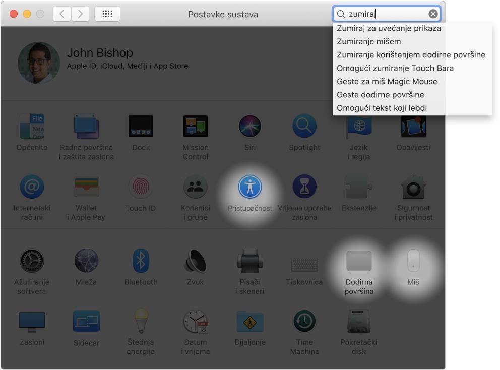 """Prozor Postavke sustava koji prikazuje """"zumiranje"""" u polju za pretraživanje, popis odgovarajućih rezultata pretraživanja ispod polja za pretraživanje i tri označene ikone postavki."""