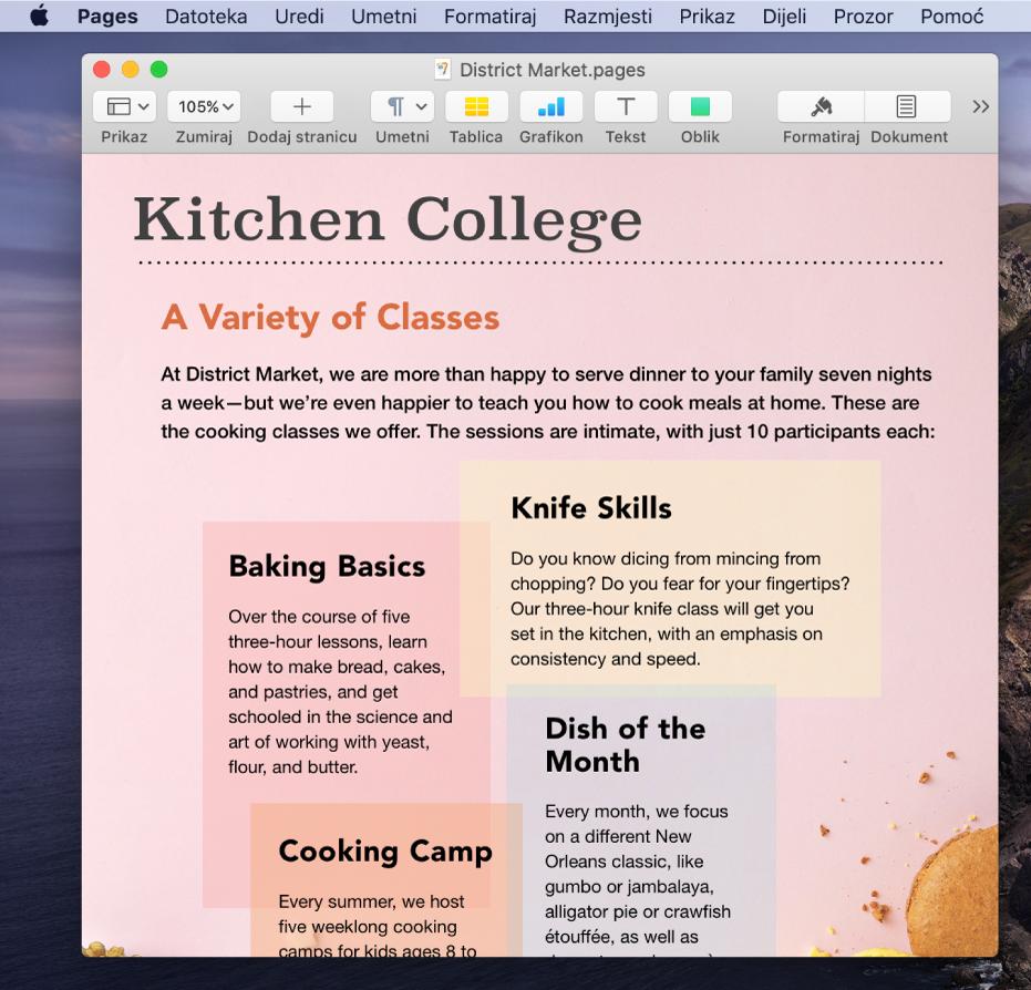Dokument u aplikaciji Pages na radnoj površini.