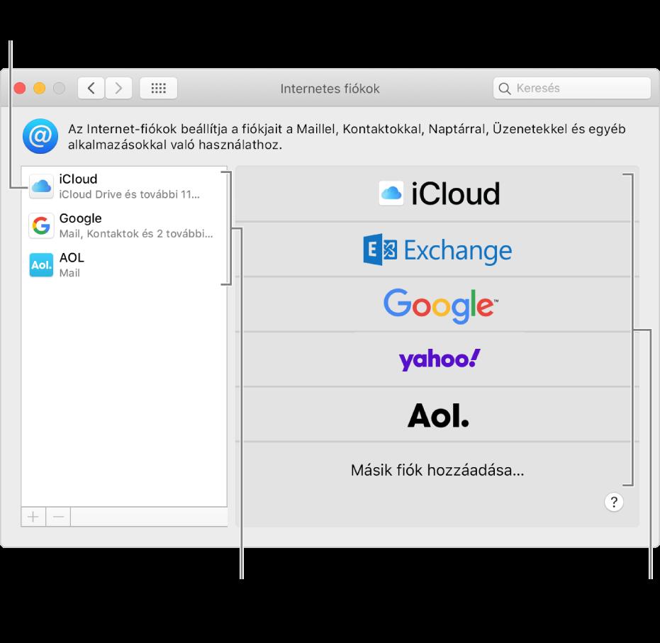 Az Internetes fiókok beállítások, ahol a fiókok a jobb oldalon, az elérhető fióktípusok pedig a bal oldalon láthatók.