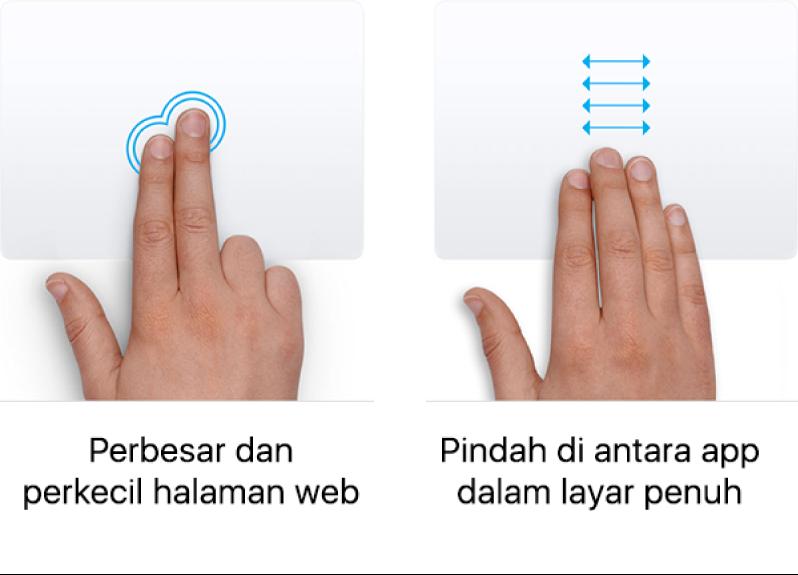 Contoh gerakan trackpad untuk memperbesar dan memperkecil halaman web dan berpindah di antara app dalam layar penuh.