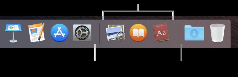 Estremità destra del Dock. Aggiungi le app a sinistra della sezione relativa alle app utilizzate di recente e le cartelle a destra di tale sezione, dove si trovano la pila Download e il Cestino.
