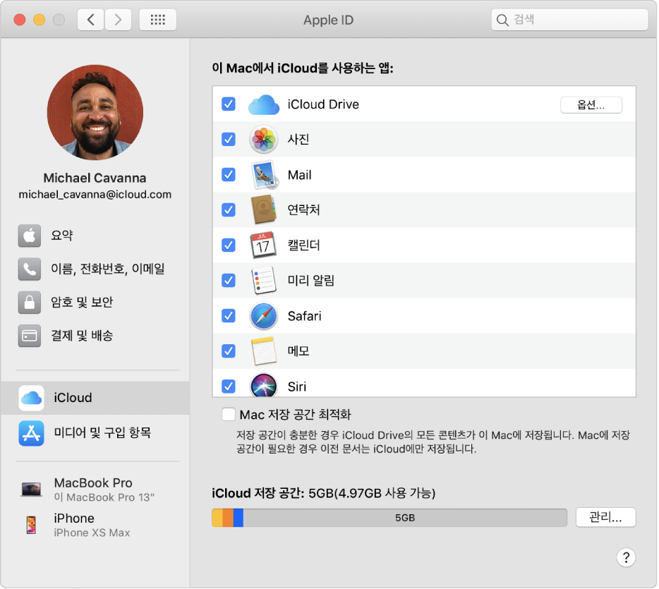 사용할 수 있는 다양한 유형의 계정 옵션이 있는 사이드바 및 기존 계정의 iCloud 환경설정을 표시하는 AppleID 환경설정.