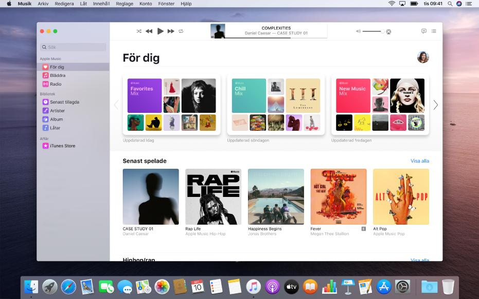 Musik-fönstret med musikförslag under Fördig.
