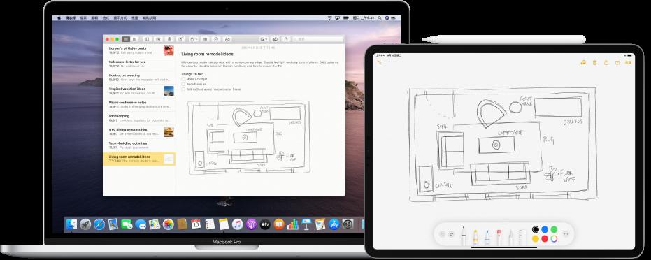 iPad 上顯示一個塗鴉,旁邊的 Mac 上「備忘錄」App 中顯示相同的塗鴉。