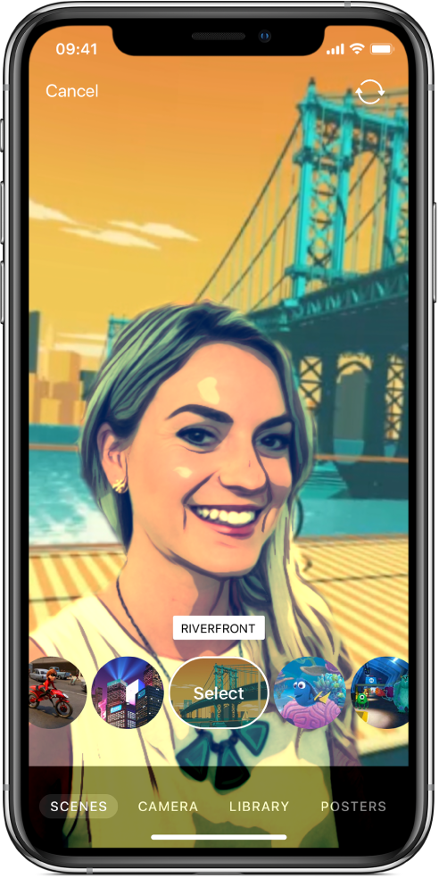 A Selfie Scene in the viewer.