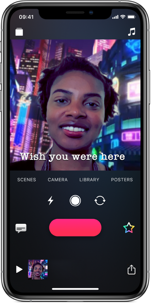 A Selfie Scene in the viewer with a Live Title at the bottom.