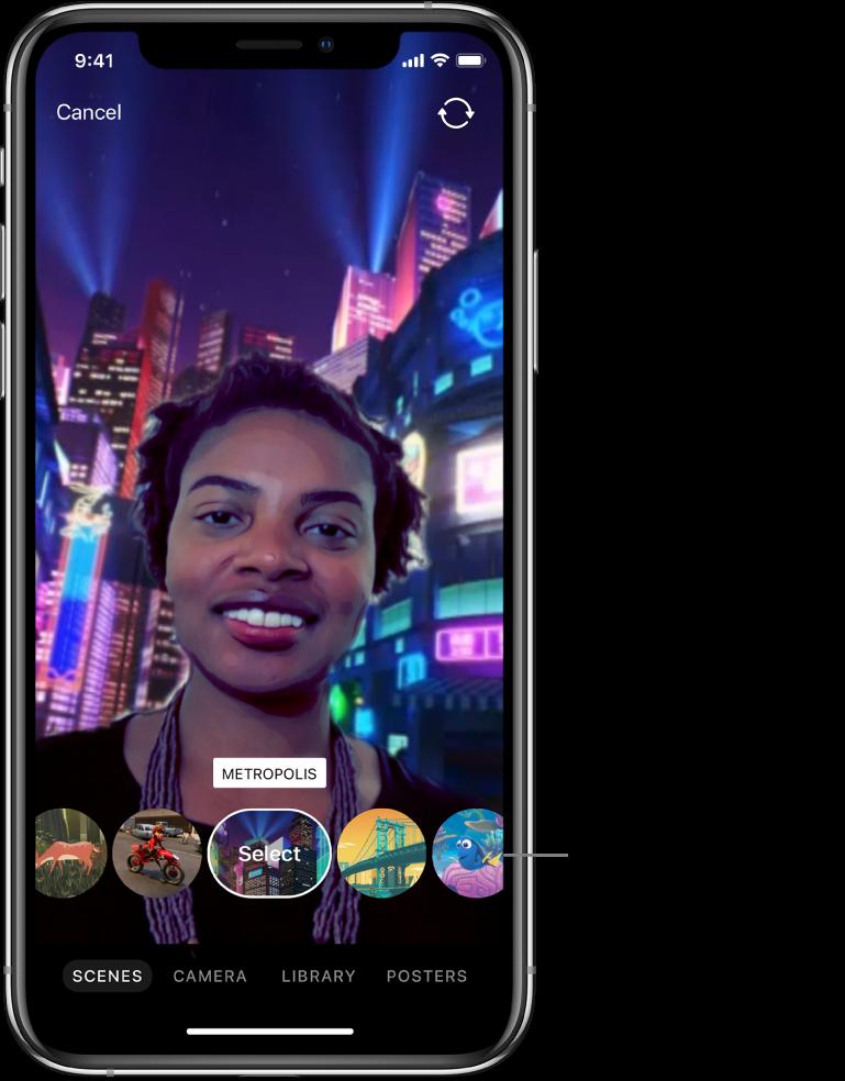 A Selfie Scene in the viewer, with scene options below.