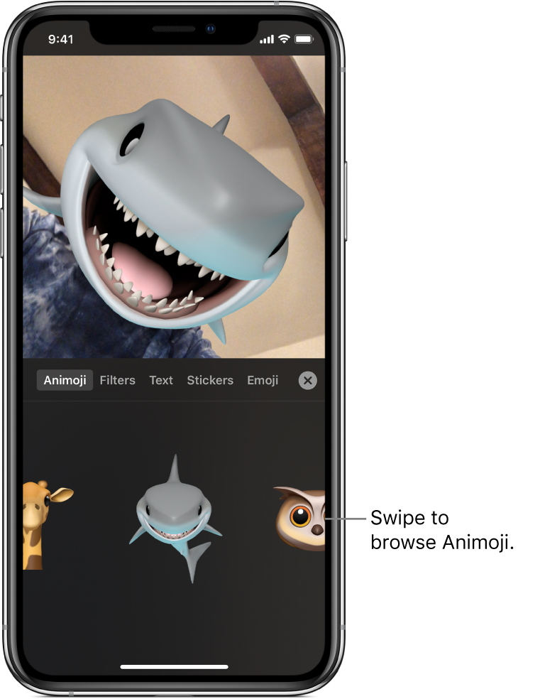 A video image in the viewer, with Animoji selected and Animoji characters shown below.
