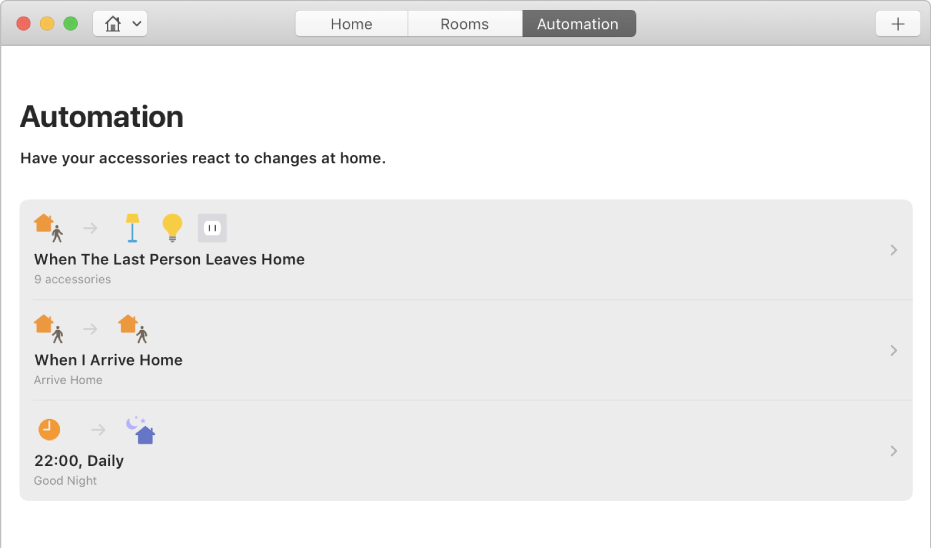 The Automation screen displaying options for accessories when a person leaves the home, when a person arrives home and when it's bedtime.