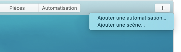 Coin supérieur droit du menu principal affichant les options Ajouter une automatisation et Ajouter une scène dans le menu Ajouter.