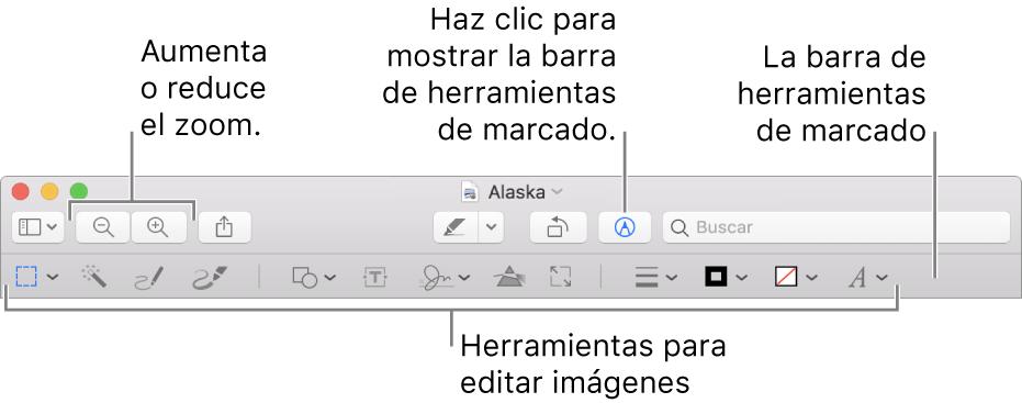 La barra de herramientas Marcación para editar imágenes.