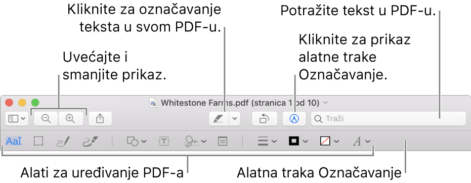Alatna traka za obilježavanje za obilježavanje PDF-ova.