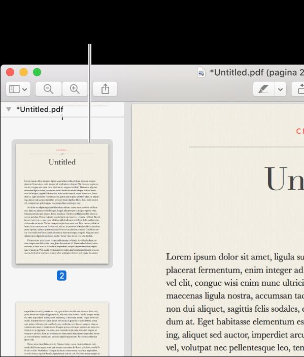 Een pdf met miniaturen in de navigatiekolom.