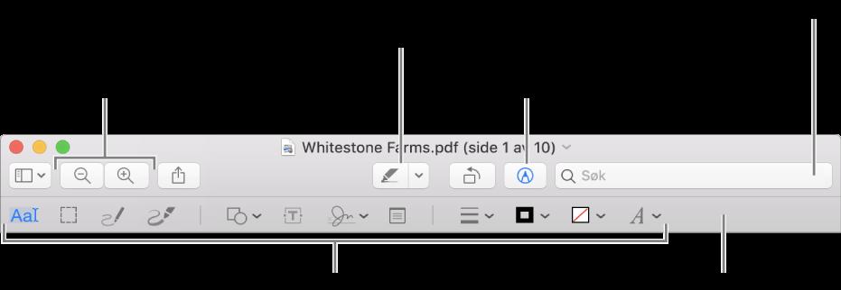 Merkingsverktøylinjen for merking av en PDF.