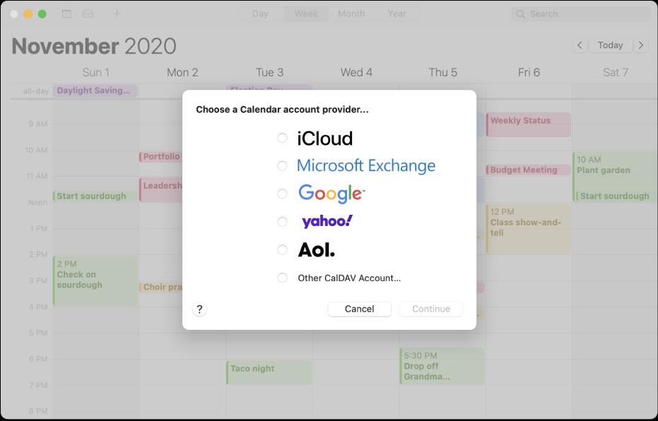 Ett Kalender-fönster som visar panelen Lägg till konto.