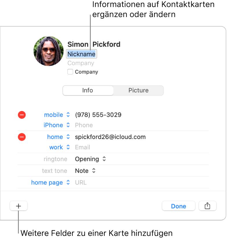"""Eine Kontaktkarte mit dem Feld """"Spitzname"""" und dem Namen des Kontakts und einer Taste unten zum Hinzufügen weiterer Felder zu der Karte"""