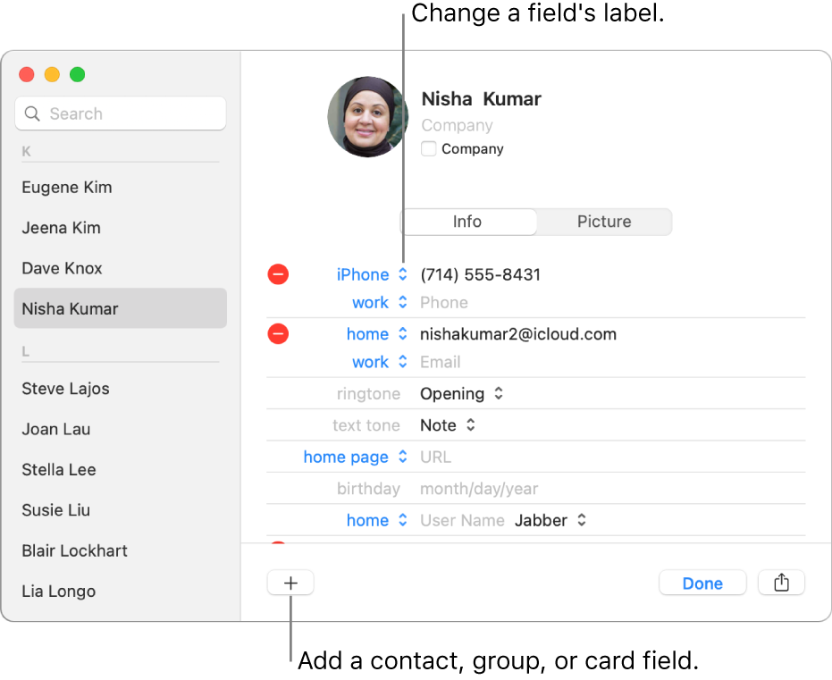 A contact card showing a field label that can be changed and the button at the bottom of the card for adding a contact, group, or card field.
