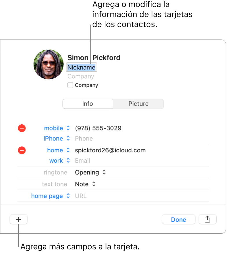 Una tarjeta de contacto mostrando el campo alias debajo del nombre del contacto y un botón en la parte inferior de la ventana para agregar más campos a la tarjeta.