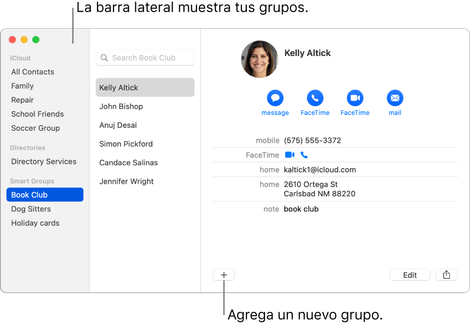 """La ventana de Contactos mostrando la barra lateral con grupos como """"Grupo de ciclismo"""", y el botón en la parte inferior de una tarjeta de contacto para agregar un grupo nuevo."""