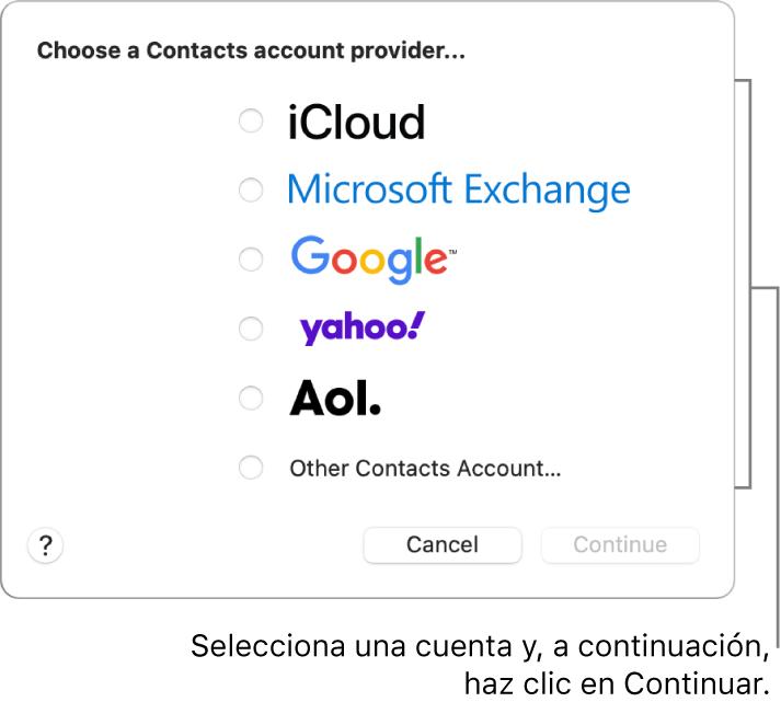 """La lista de tipos de cuentas de internet que puedes añadir a la app Contactos: iCloud, Exchange, Google, Yahoo y """"Otra cuenta de Contactos""""."""