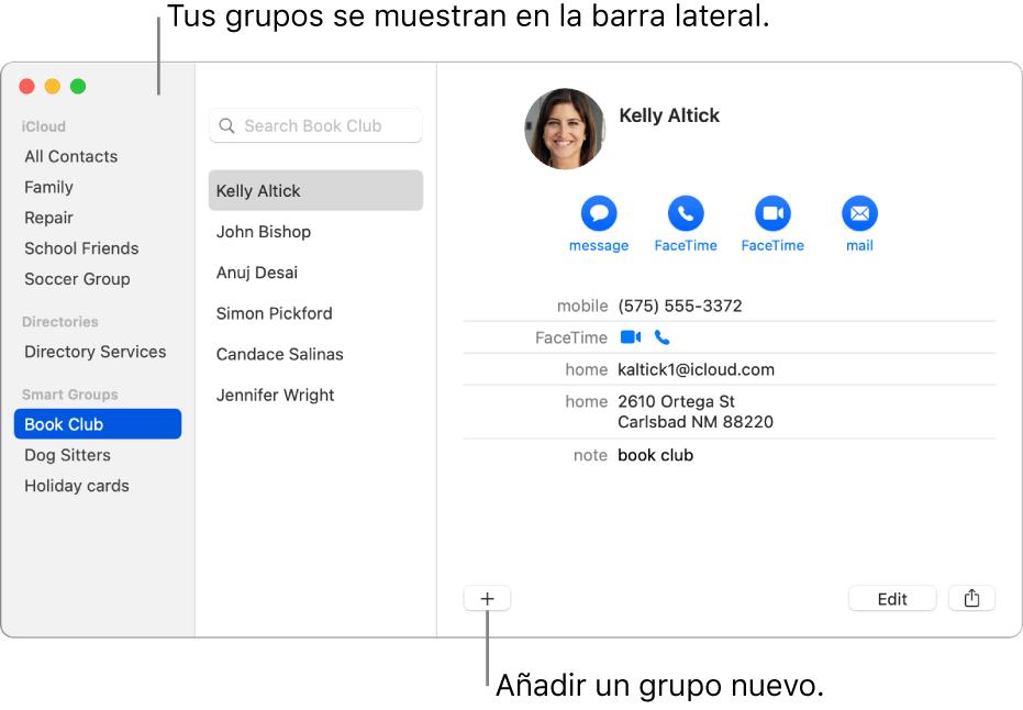 La ventana Contactos con la barra lateral, en la que se muestran grupos, como un grupo de ciclismo, y el botón para añadir un nuevo grupo en la parte inferior de una tarjeta de contacto.