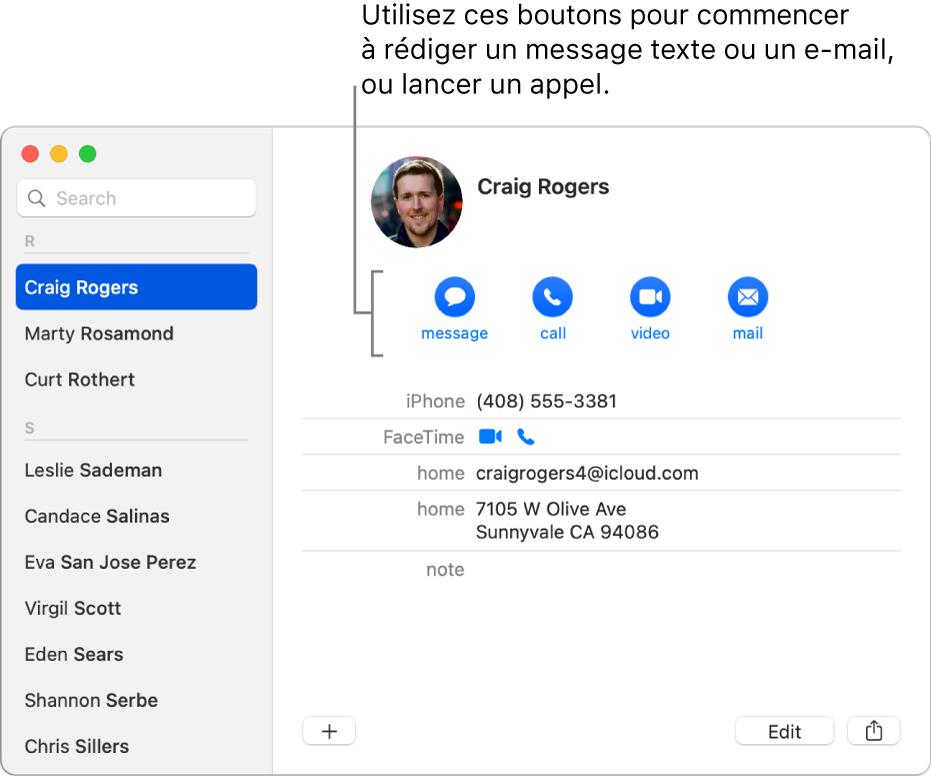 Une fiche de contact affichant les boutons situés sous le nom du contact. Vous pouvez utiliser ces boutons pour commencer un SMS, un appel téléphonique, audio ou vidéo, ou un e-mail.