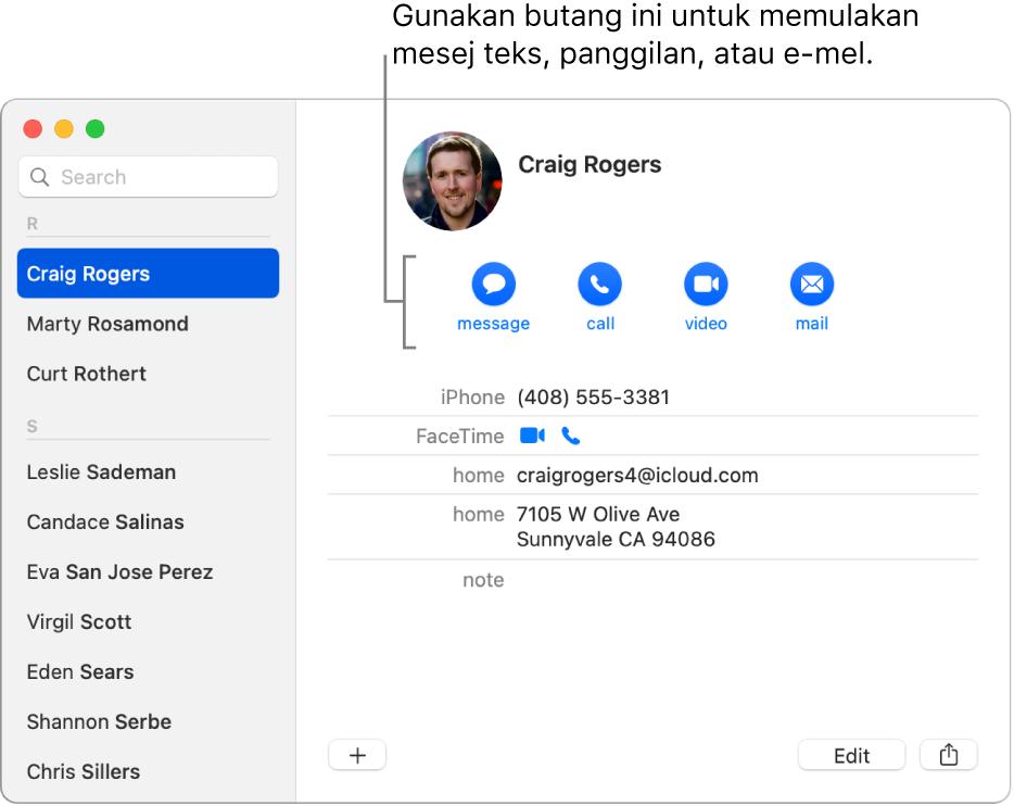Kad kenalan menunjukkan butang terletak di bawah nama kenalan. Anda boleh gunakan butang ini untuk memulakan mesej teks, panggilan telefon, audio atau video, atau e-mel.
