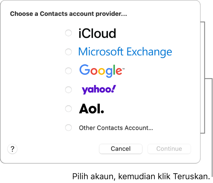 Senarai jenis akaun internet yang anda boleh tambah ke app Kenalan: iCloud, Exchange, Google, Yahoo, AOL dan Akaun Kenalan Lain.