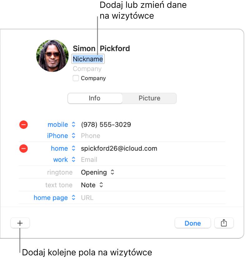 Wizytówka zawierająca pole Pseudonim poniżej imienia inazwiska kontaktu. Na dole okna znajduje się przycisk pozwalający dodać do wizytówki kolejne pola.