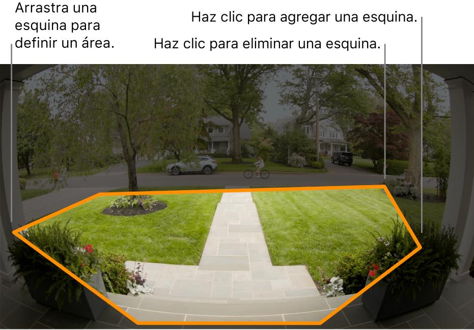 Vista de cámara de la entrada mostrando un contorno de zona de actividad alrededor del patio delantero.