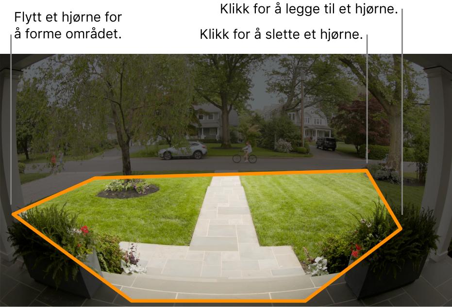En kameravisning av inngangen, som viser en uthevet aktivitetssone rundt hagen på framsiden.