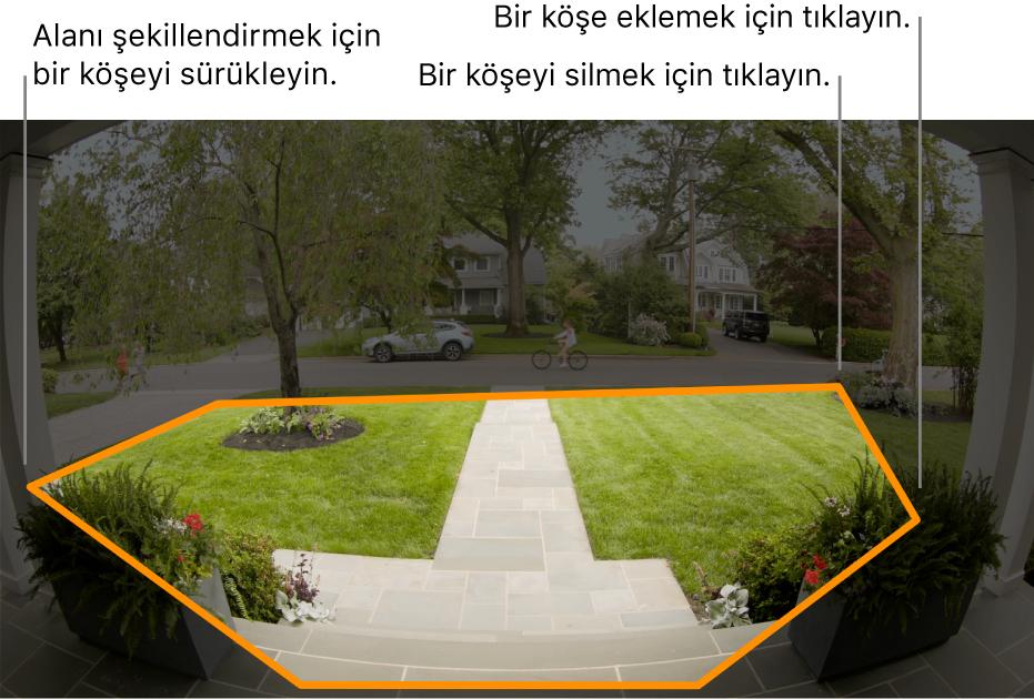 Girişin, ön bahçe civarında sınırları belirtilmiş bir hareket bölgesini gösteren kamera görüntüsü.