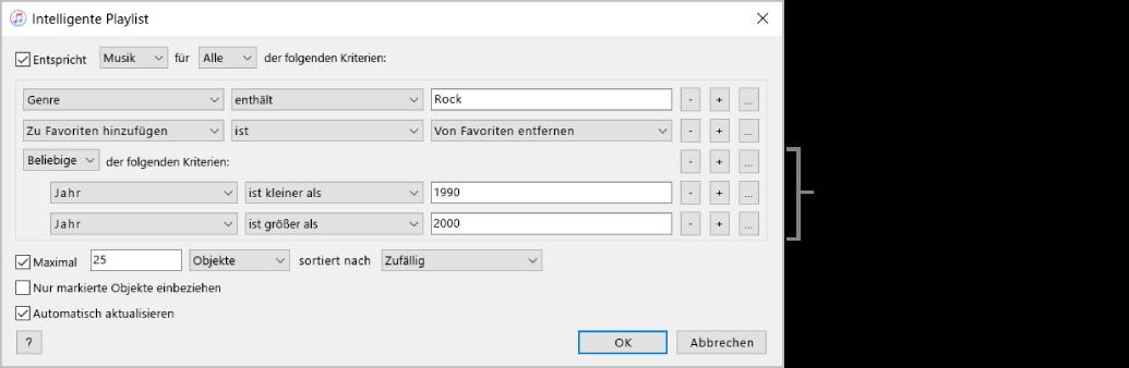"""Das Fenster """"Intelligente Playlist"""" Verwende die Schaltfläche zum Verschachteln auf der rechten Seite, um zusätzliche verschachtelte Regeln zu erstellen. Damit lassen sich noch bessere Ergebnisse erzielen."""