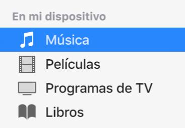 """La sección """"En mi dispositivo"""" de la barra lateral mostrando la opción Música seleccionada."""