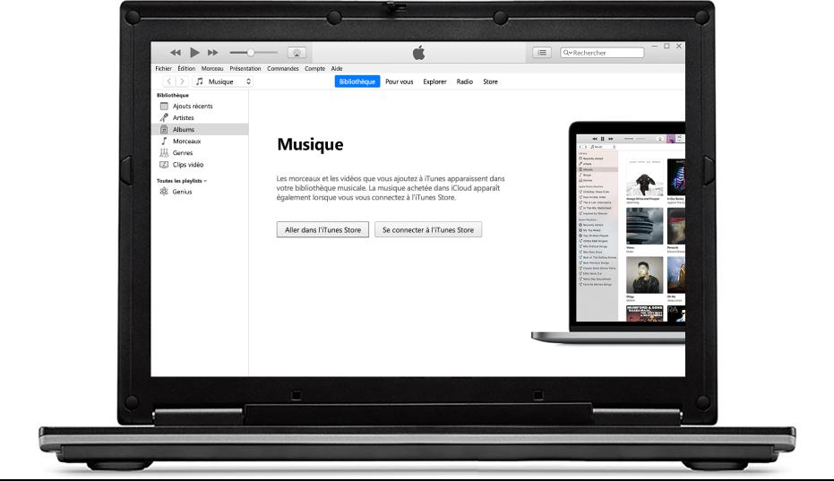 Un PC affichant une nouvelle bibliothèque iTunes vide.