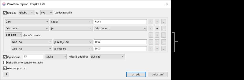 Prozor Smart reprodukcijske liste: Koristite tipku Ugnijezdi s desne strane za izradu dodatnih, ugniježđenih pravila za dobivanje određenijih rezultata.